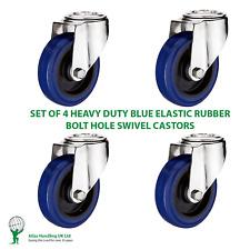 More details for 4 x heavy duty 100mm / 210kg blue elastic rubber wheel on swivel bolt hole ca...