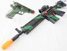 2X Toy Guns Military M-16 Toy Rifle & Camo Green 9MM Pistol Toy Cap Gun Set