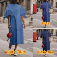 UK Women Puff Sleeve Beach Dress Plus Size Sundress Party Casual Holiday Dresses