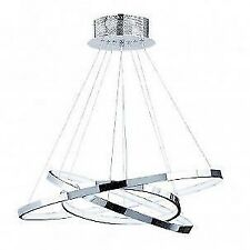 Kline 3 Ring Pendant Silver Ceiling Light Chandelier 36w Warm White