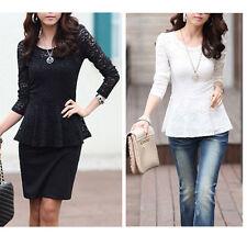 Polyester Long Sleeve Peplum Tops & Blouses for Women
