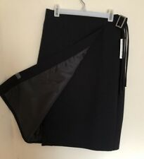 S.C Basics Black Wrap-Over Midi Skirt w Buckle Belt Lined Size 6 Made In Canada