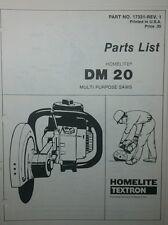 Homelite DM 20 Gas Multi-Purpose Body Saw Parts Manual 8pg Concrete Metal Cutter