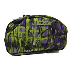 Beauty porta oggetti COMIX in cordura verde e viola con zip 11x17,5x5 cm circa