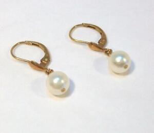Fine Vintage Estate 14K Yellow Gold Genuine Round PEARL Dangle Pierced Earrings