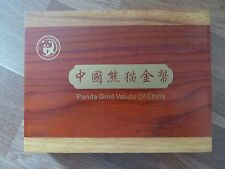 Chinese / China Panda Wooden Type-Set Coin Box for 5 Coin Year Set Gold Coins