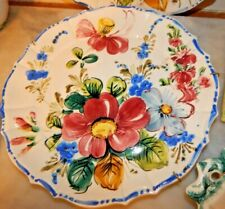 """Vintage hand painted plate dish ITALY Scalloped Floral Italian 10"""""""