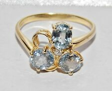 Beautiful 9ct Oro Giallo 2.00ct Acquamarina & Anello Diamante - taglia M