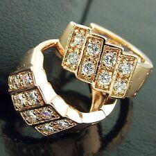 Hoop Earrings Real 18k Rose G/F Gold Ladies Diamond Simulated Huggie Design