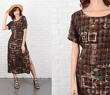 Vintage 80s 90s Gingham Plaid + Floral Print Dress Maxi Grunge Brown Black M