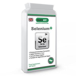 Selenium + Vitamins A C & E 50mcg 365 Tabs 1 Year Supply For Immunity Wellbeing