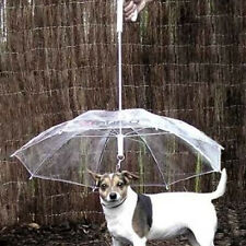 Transparent PVC Pet Puppy Dog Umbrella With Chain For Outdoor Rain Walk