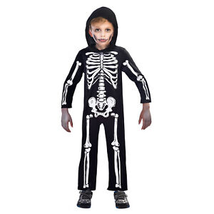 Childrens Kids Boys Scary Bones Skeleton Halloween Fancy Dress Costume New