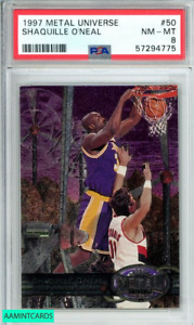 1997 METAL UNIVERSE SHAQUILLE O NEAL #50 LOS ANGELES LAKERS PSA NM-MT 8
