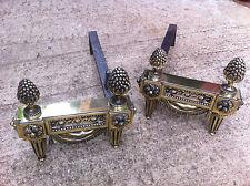 Antique Regency Brass Iron Andirons Fire Dogs Grate Inglenook Fireplace (TA064)