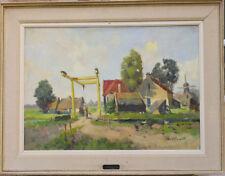 Tableau vers 1930 signature ? Hollande Moulin à vent Pays-Bas pont à bascule