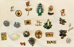 Lot of 23 costume jewelry pins, Christmas, Stamp pins, L initial, Thanksgiving