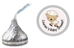 108 PINK LAMB PERSONALIZED HERSHEY KISS LABELS STICKERS BABY SHOWER PARTY FAVORS