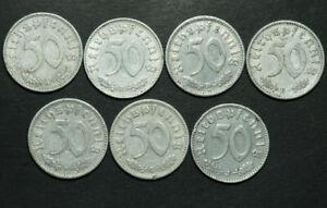 DRITTES REICH: 50 Reichspfennig 1939 A, B, D, E, F, G & J. Alu mit HK. KOMPLETT.