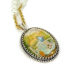 """DISNEY 18"""" NECKLACE WINNIE the POOH GOLD & Faux PEARL SILVER Plated MEDALLION"""
