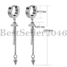 2pcs Men Women Long Dangle Cross Spike Huggie Hoop Stainless Steel Stud Earrings