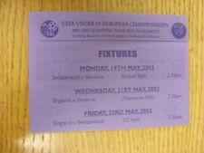 19/05/2003 BIGLIETTO: nella Repubblica d'Irlanda, SVIZZERA U19 V Slovenia U19 [a essere