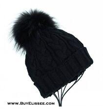 Merino Wool Beanie Hat w/ Real Fur Detachable PomPom Ski Cap $89 NY, USA