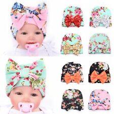 Sweet Newborn Baby Infant Girl Toddler Bowknot Hospital Cap Floral Beanie Hat DP