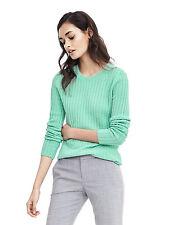 NWT Banana Republic Women's Italian Cashmere Blend Rib Crewneck Sweater Green L