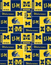 College University of Michigan Squares UM 012 Fleece Fabric Print by the Yard