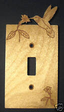 Engraved Humming Bird Wood Single Switch Plate Cover