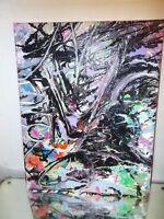 GRAFFITI  CANVAS MUSK YAI 11X14 Hand-painted Original Abstract Painting Outsider