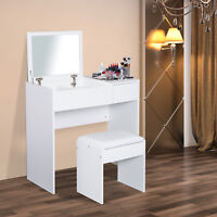 HOMCOM Dressing Table Set with Flip-up Mirror Padded Stool Sliding Drawer White