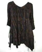 Pure Intent Long Sleeve V Neckline Blouse Top Size 2XL Brown Animal Print