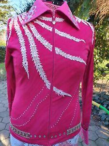 Showbluse Railshirt Western Turnier Horsemanship Showmanship pink Strass Gr L