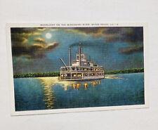 Baton Rouge Louisiana Moonlight On Mississippi River Linen Vintage Postcard