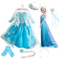 Girls Frozen Princess Queen Elsa Disney Cosplay Costume Party Fancy Dress Up New