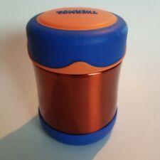 THERMOS FOOGO Vacuum Insulated Stainless Steel 10-Ounce Food Jar, Orange/ Blue