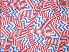 VTG 43X45 RED WHITE BLUE ABSTRACT GEOMETRIC FEED SACK FABRIC QUILT CRAFT UPCYCLE