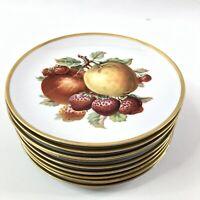 Mitterteich Bavaria Fruit Plates Set of 9 Apple Pear Peach Pineapple Salad Desse