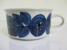 ARABIA Finland Blue ANEMONE Demitasse Flat Cup Mug Ulla Procope Stoneware RARE!