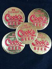 5 Cook's Beer Stickers Vintage Evansville Indiana 1950's