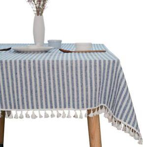 TruDelve Cotton Linen Table Cloth Stripe Tassel Rectangle Tablecloth Dust-Proof