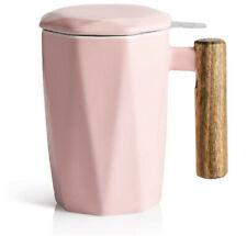 Tea Mug Infuser and Lid Porcelain Wooden Handle
