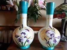 pair of  hand painted  opaline vases
