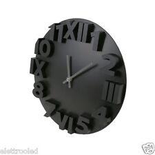 Orologio da muro parete tondo nero, numeri romani e classici in rilievo analogic