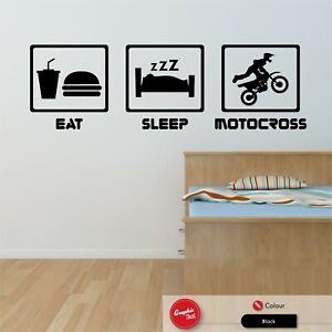 Eat Sleep Motocross Wall Sticker Boys Motorbike Dirt Bike Vinyl Bedroom Decal