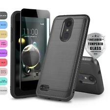 MODERN SHOCKPROOF COVER PHONE CASE FOR [LG REBEL 4 LTE] +BLACK TEMPERED GLASS