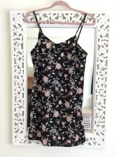 H&M Black, Ivory and Pink Floral Print Cami Dress, UK Size 12-14 Immaculate