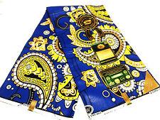2 Yards High Quality Royal Blue Cowries Star Wax African Fabric Ankara Prints